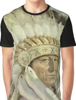 The Chief  Retro Vintage Native American Man Cool Art Design Graphic T-Shirt
