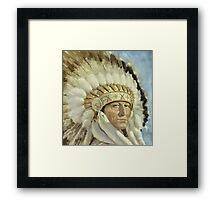 The Chief  Retro Vintage Native American Man Cool Art Design Framed Print