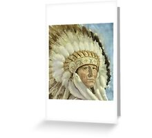 The Chief  Retro Vintage Native American Man Cool Art Design Greeting Card