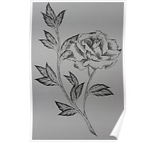 Simple ink rose with line work Poster