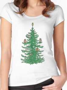 Christmas Fir Tree with Owls Women's Fitted Scoop T-Shirt