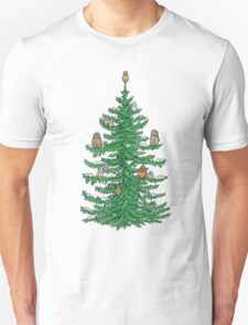 Christmas Fir Tree with Owls T-Shirt