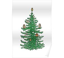 Christmas Fir Tree with Owls Poster