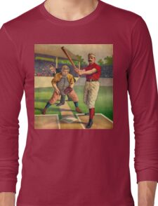 Vintage Baseball Player - Cool Retro Sports Color Poster Shirts And Gifts Long Sleeve T-Shirt