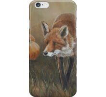Red Fox with Pumpkins iPhone Case/Skin