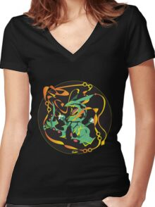 Delta Dragon Circle Women's Fitted V-Neck T-Shirt