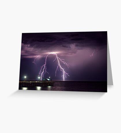 Thunder over Henley Beach Jetty Greeting Card