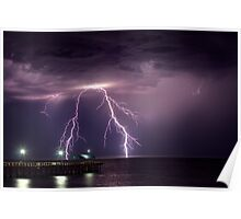 Thunder over Henley Beach Jetty Poster