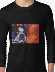 Boston Terrier Bright colorful pop dog art Long Sleeve T-Shirt