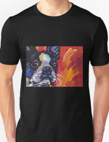 Boston Terrier Bright colorful pop dog art Unisex T-Shirt