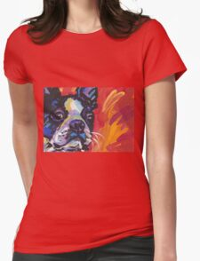 Boston Terrier Bright colorful pop dog art Womens Fitted T-Shirt