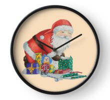 Cute santa and toys wrapping Christmas gifts Clock