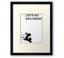 let's go exploring (black) Framed Print
