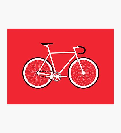 Red Fixed Gear Road Bike Photographic Print