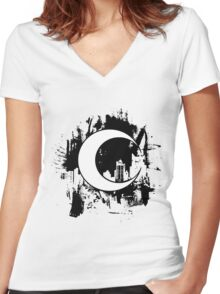 Moon Knight city-scape Black Women's Fitted V-Neck T-Shirt