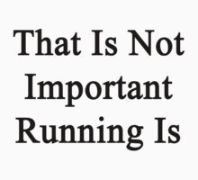 That Is Not Important Running Is  by supernova23