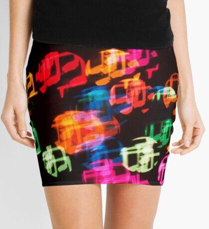 Abstract Bokeh shapes musical notes. Mini Skirt