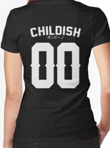 Childish Jersey v2: White Women's Fitted V-Neck T-Shirt