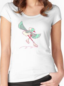 winter skating chicken  Women's Fitted Scoop T-Shirt