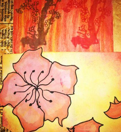 Oriental flower bricks Sticker