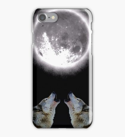 Wolfs howling at the Moon iPhone Case/Skin