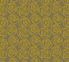 Rose doodle - olive and gold by ixie