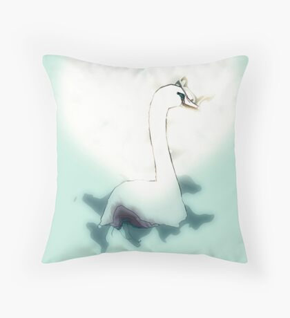 white swan swimming Throw Pillow