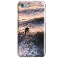 Lone surfer at sunset iPhone Case/Skin
