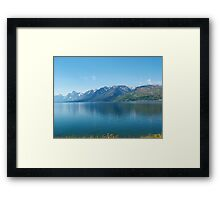 Blue dream - Grand Teton National Park landscape photography. Blue lake, mountain and sky. Framed Print