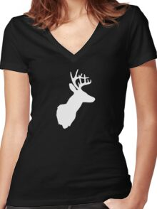 Stag Deer Head with Antlers Black and White Women's Fitted V-Neck T-Shirt