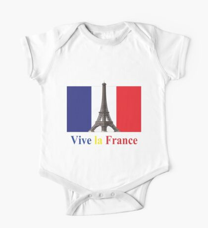 Vive la France Flag and Eiffel Tower  One Piece - Short Sleeve