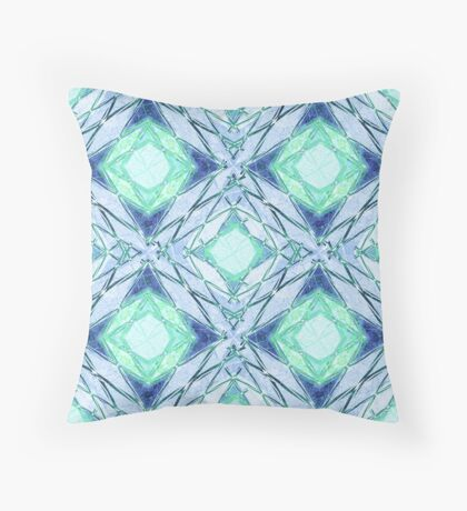 Abstract geometric pattern in blue,green, colours. Throw Pillow