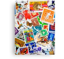 Around the World in 80 stamps Canvas Print