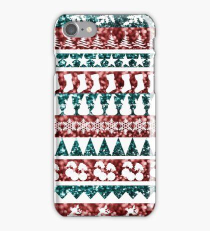 Christmas Glitter Aztec Design iPhone Case/Skin
