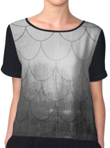 Dark forest. Black and white. Scales pattern Chiffon Top