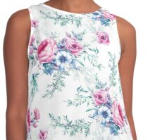Watercolor vintage floral seamless pattern Contrast Tank