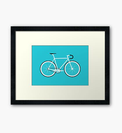 Turquoise Fixed Gear Road Bike Framed Print