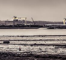 Belfast Shipyard and Lough by Alan Campbell