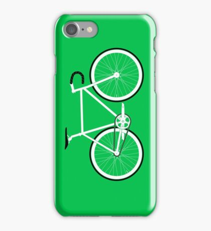 Green Fixed Gear Road Bike iPhone Case/Skin