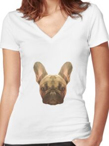 French bulldog. Women's Fitted V-Neck T-Shirt