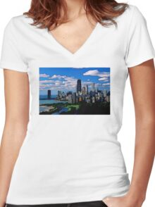 Chicago Oil Painting Women's Fitted V-Neck T-Shirt