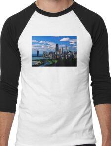 Chicago Oil Painting Men's Baseball ¾ T-Shirt