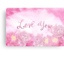 Love You Dark Pink Roses Watercolor Background Canvas Print