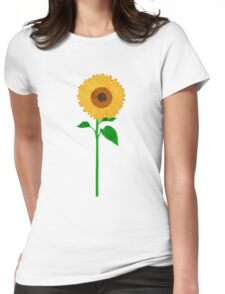 Sunflower with Stem Womens Fitted T-Shirt