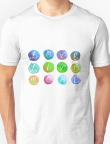 Hand-Painted Watercolor Circles Colorful Rainbow T-Shirt