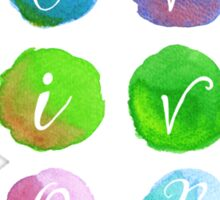 Hand-Painted Watercolor Circles Colorful Rainbow Sticker