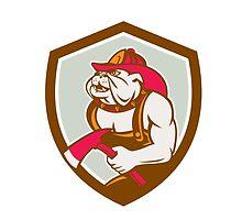 Bulldog Fireman With Axe Shield Retro by patrimonio