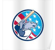 Wolf Baseball With Bat USA Stars Circle Retro Poster