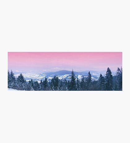 Mountain panorama. Winter. Pink sunset Photographic Print