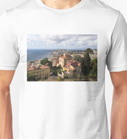 Naples Italy Aerial Perspective - Chiaia and Mergellina Seafront Neighborhoods Unisex T-Shirt